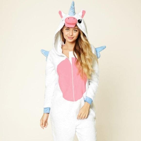 Forever21 Unicorn Onesie One Piece PJ Pajama M